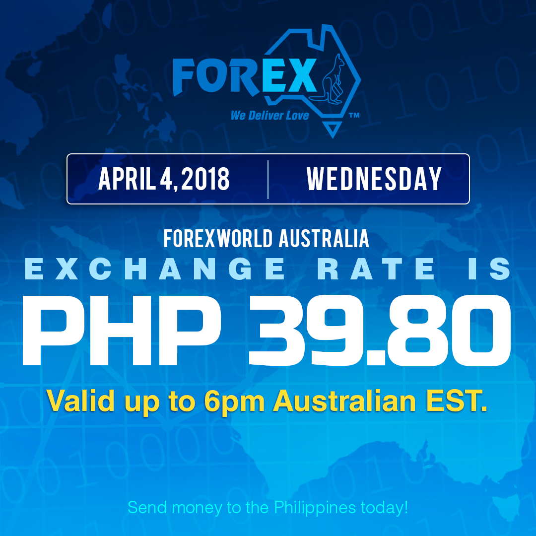 Australian Dollar Philippines Peso exchange rate April 4, 2018