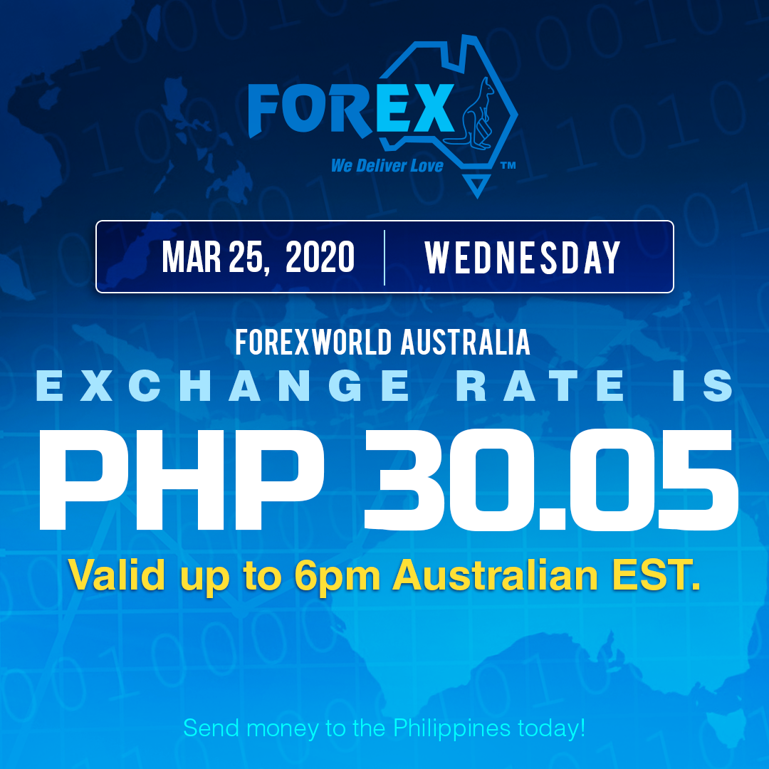 Australian Dollar Philippines Peso exchange rate March 25, 2020