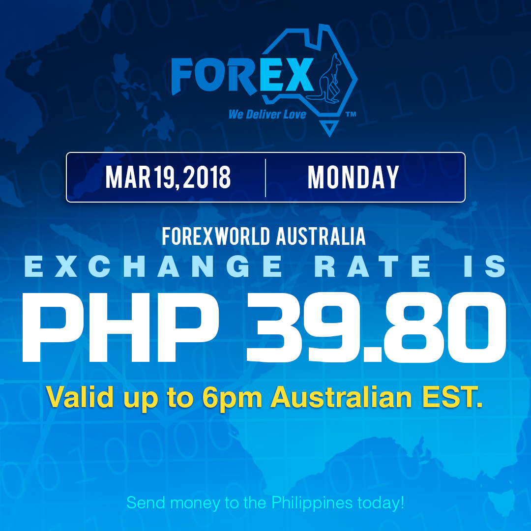 Australian Dollar Philippines Peso exchange rate March 19, 2018