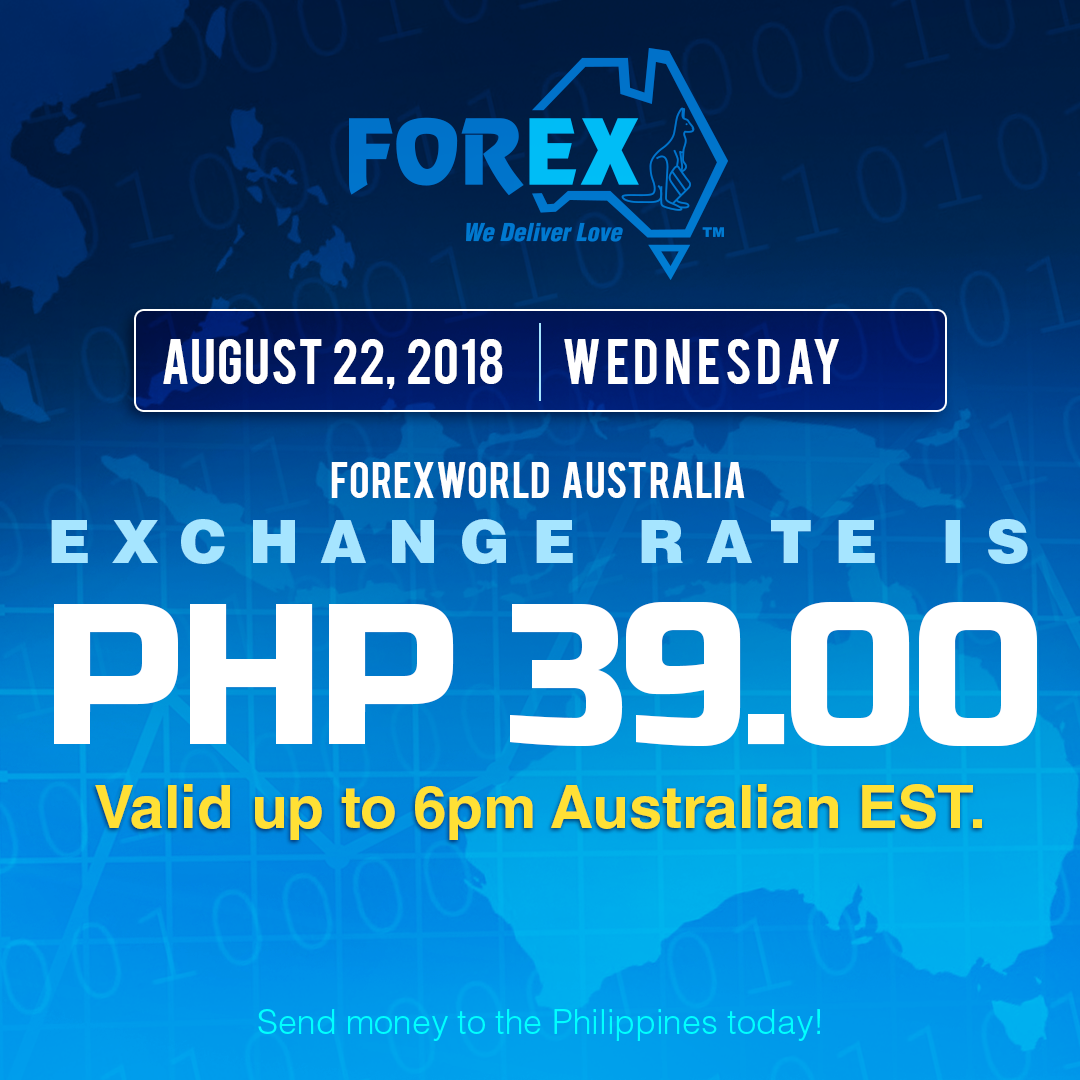 Australian Dollar Philippines Peso exchange rate August 22, 2018