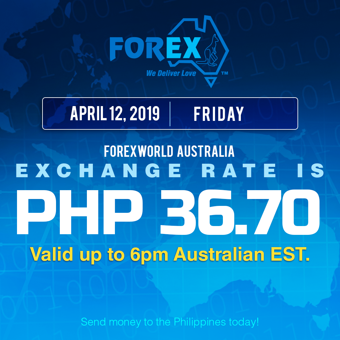 Australian Dollar Philippines Peso exchange rate April 12, 2019