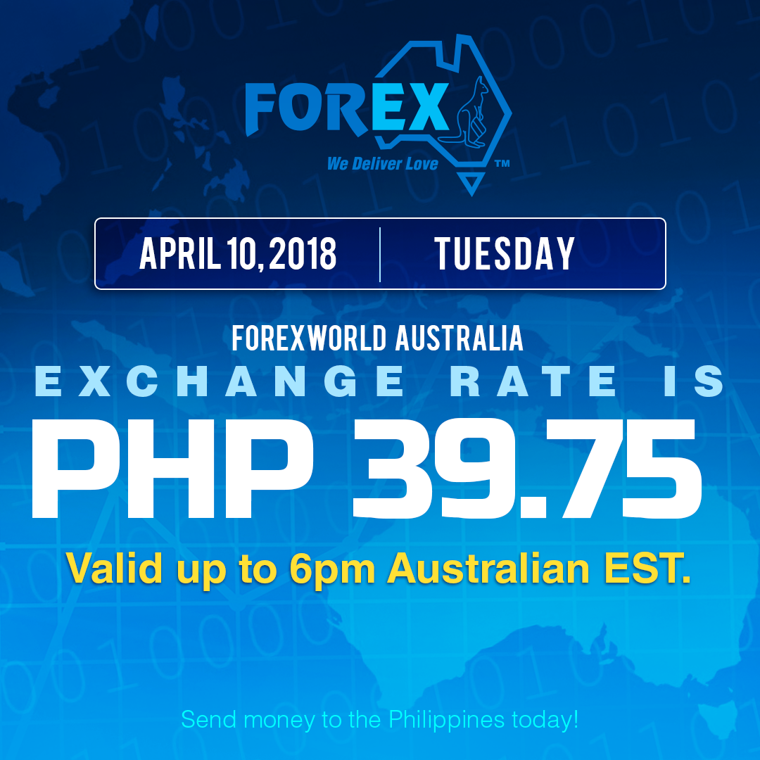 Australian Dollar Philippines Peso exchange rate April 10, 2018