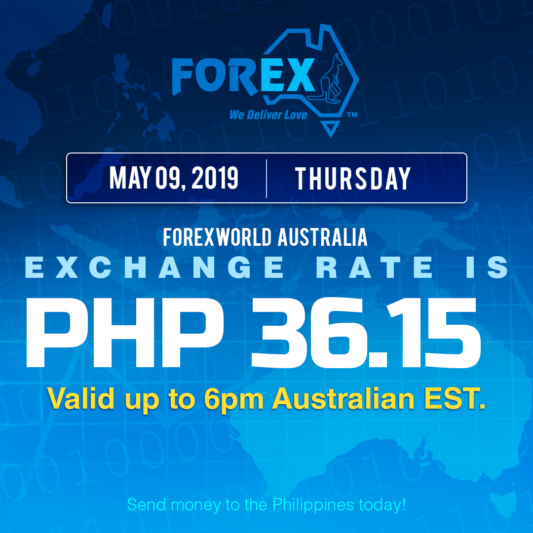 Australian Dollar Philippines Peso exchange rate May 9, 2019
