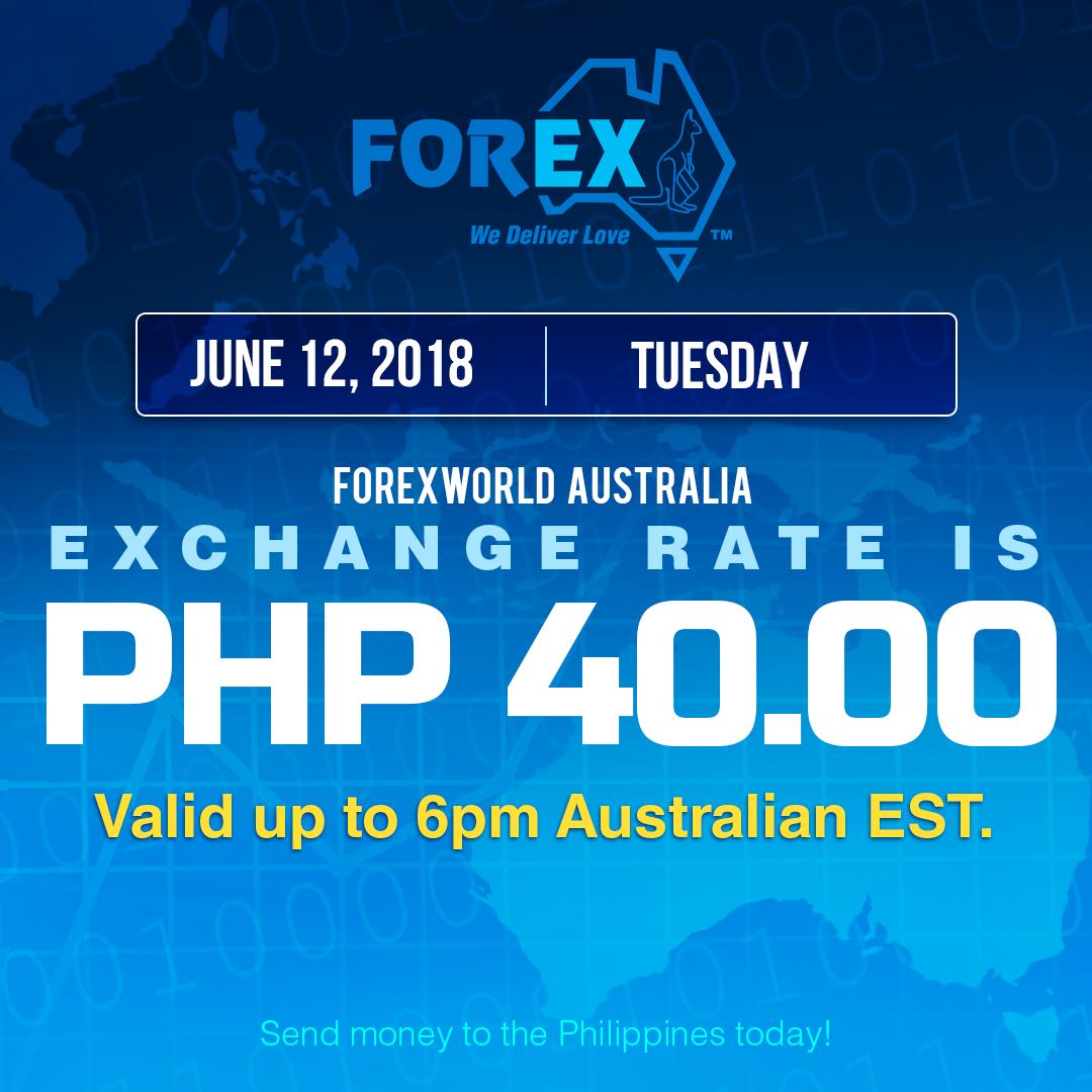 Australian Dollar Philippines Peso exchange rate June 12, 2018