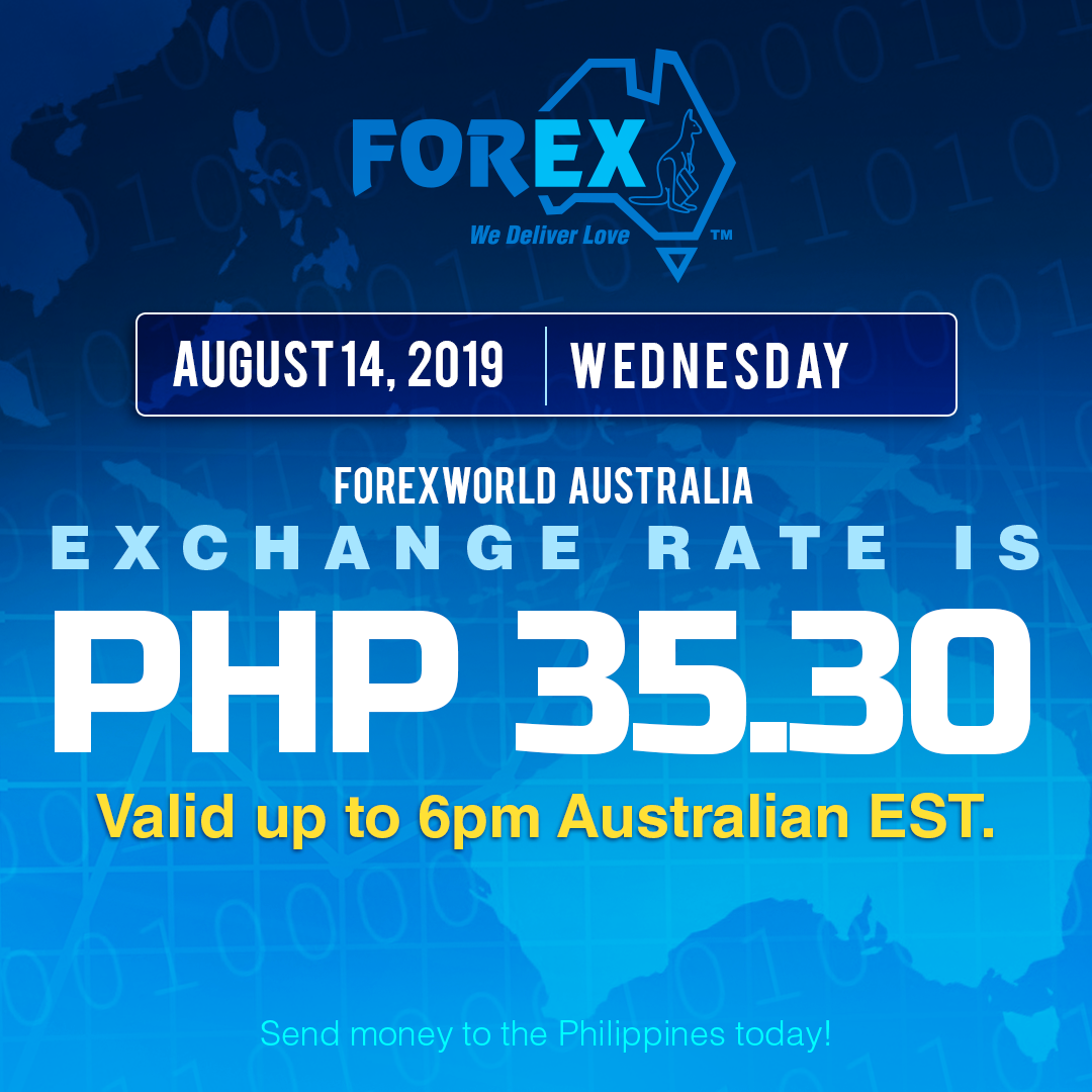 Australian Dollar Philippines Peso exchange rate August 14, 2019