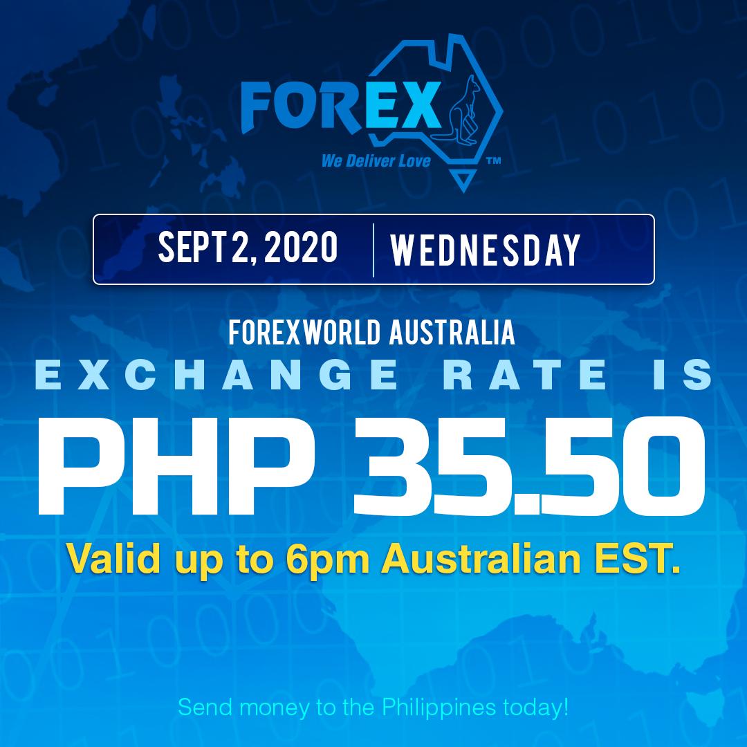 Australian Dollar Philippines Peso exchange rate September 2, 2020