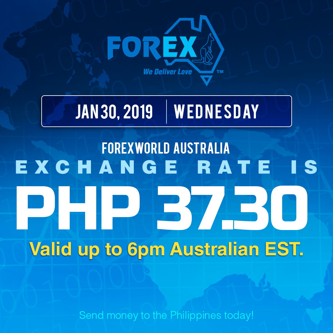 Australian Dollar Philippines Peso exchange rate January 30, 2019