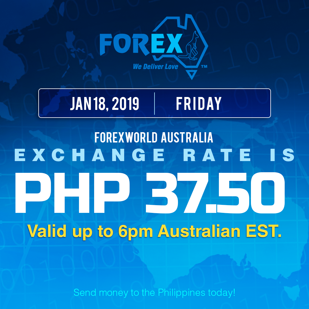 Australian Dollar Philippines Peso exchange rate January 18, 2019