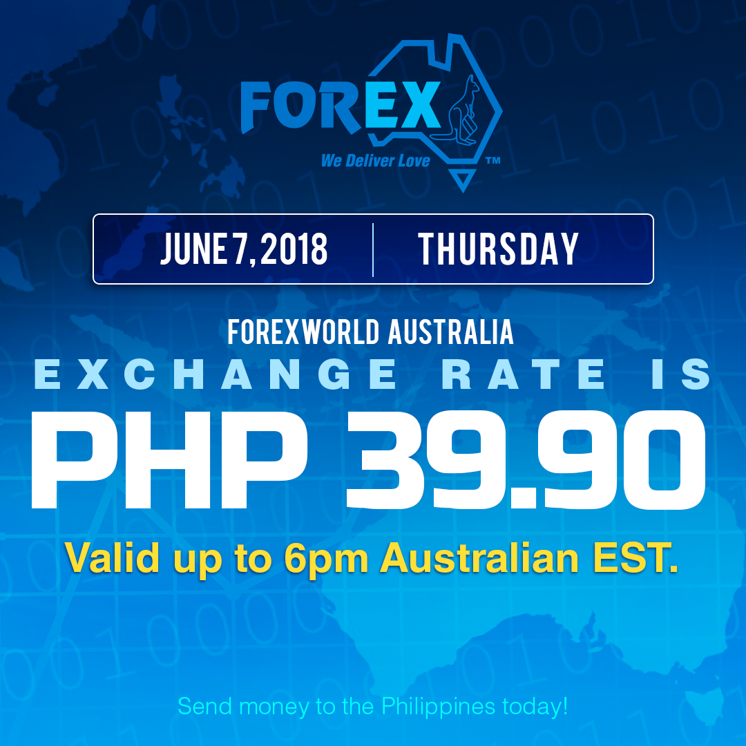 Australian Dollar Philippines Peso exchange rate June 7, 2018