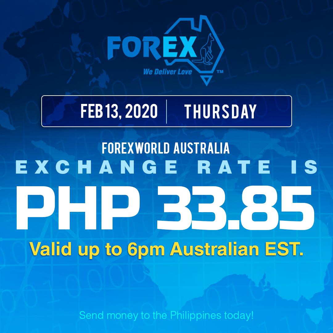 Australian Dollar Philippines Peso exchange rate February 13, 2020