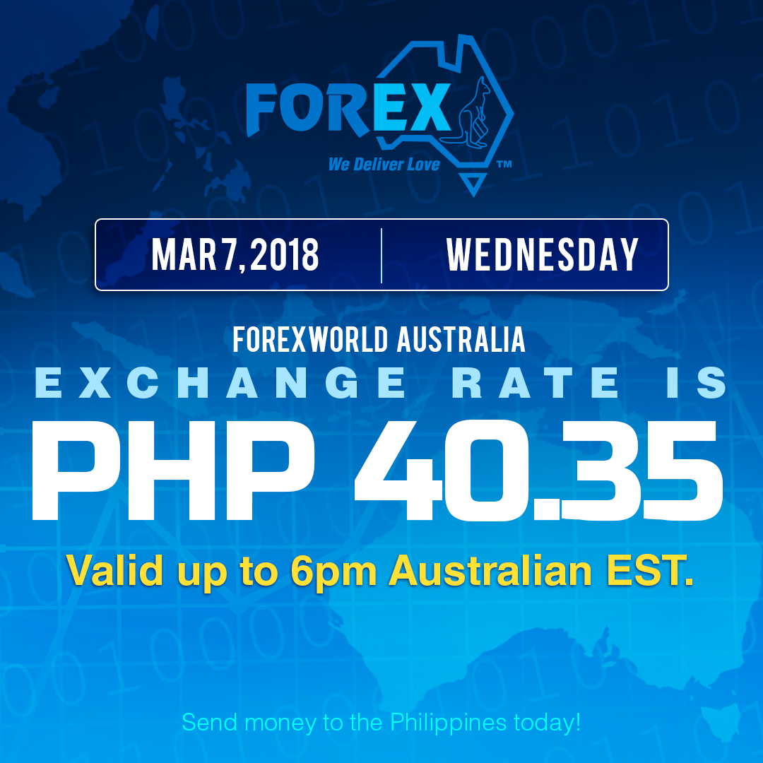Australian Dollar Philippines Peso exchange rate March 7, 2018