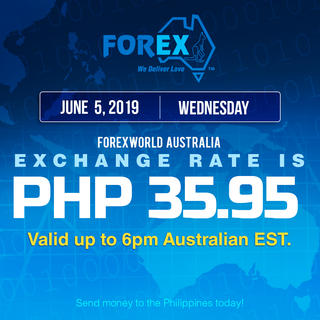Australian Dollar Philippines Peso exchange rate June 5, 2019