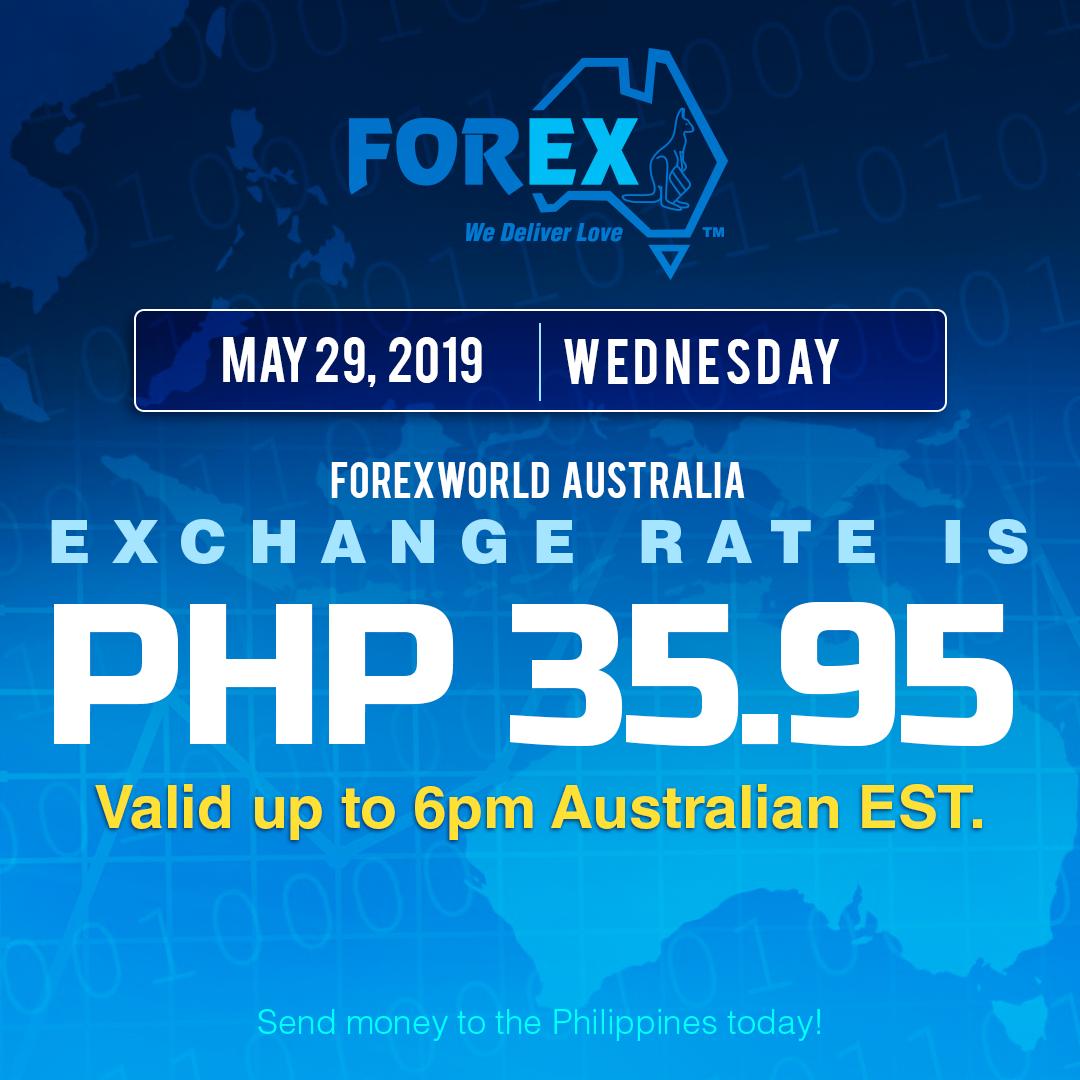Australian Dollar Philippines Peso exchange rate May 29, 2019